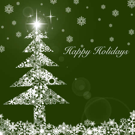 holiday background: Christmas Tree with Stars and Snowflakes White on Green Background Stock Photo