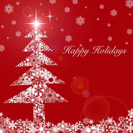 Rbol de Navidad con estrellas y copos de nieve blanca sobre fondo rojo  Foto de archivo - 8211769