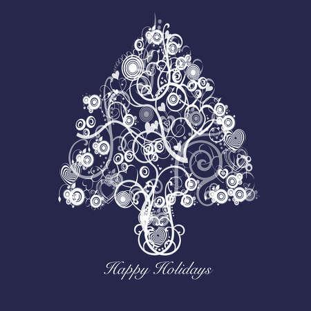 Resumen de árbol de Navidad con corazones de espirales y círculos de blanco sobre fondo azul  Foto de archivo - 8211765