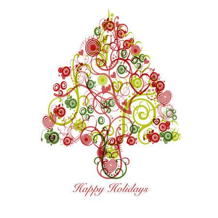 크리스마스 트리 개요 다채로운 소용돌이 하트와 원 스톡 콘텐츠