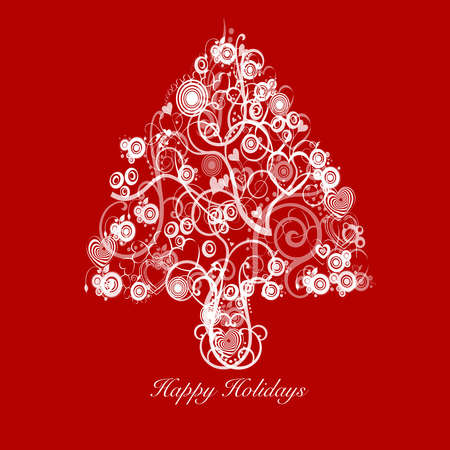 greeting card background: Christmas Tree Abstract with Swirls Hearts and Circles White on Red Background