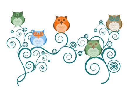 buhos y lechuzas: B�hos coloridos en dibujos de fondo blanco de ramas de �rbol