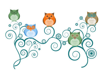 bird of prey: Colorful Owls on Tree Branches White Background Drawings