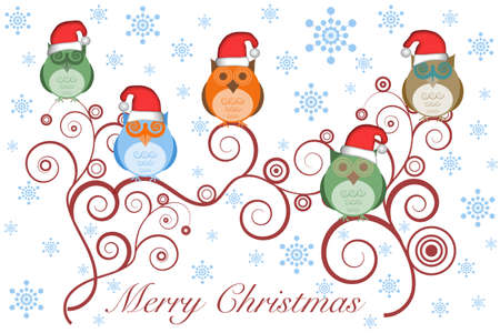 Christmas Owls with Santa Hat on Tree Branches and Snowflakes Stock Photo - 8211757