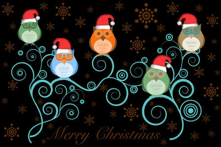 Christmas Owls with Santa Hat on Tree Branches and Snowflakes on Black photo