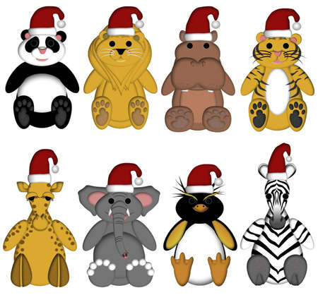 Christmas Wildlife Zoo Animals with Santa Hat on White Background Drawings