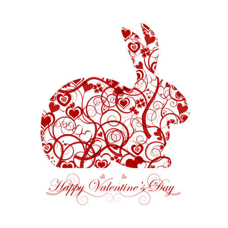 festive occasions: Happy Valentines Day Bunny Rabbit with Red Hearts and Swirls