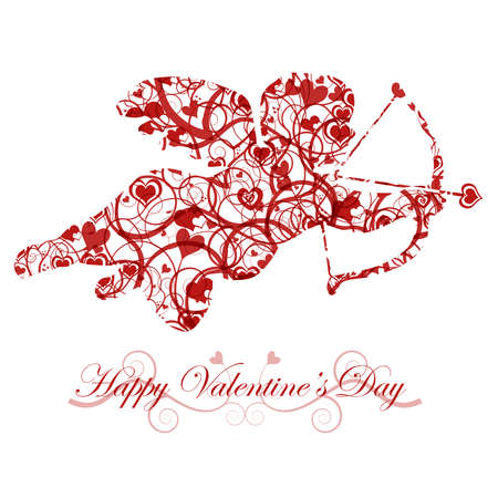 joyous: Valentines Day Cupid with Bow and Heart Arrow Red Stock Photo