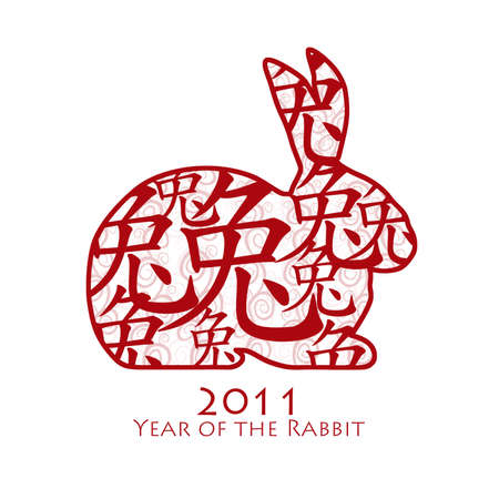 Year of the Rabbit 2011 with Chinese Symbol on White Background