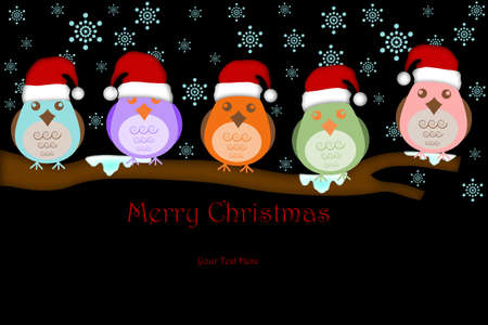 Five Birds with Santas Hat on Tree Branches White Background Drawings Stock Photo - 8281245