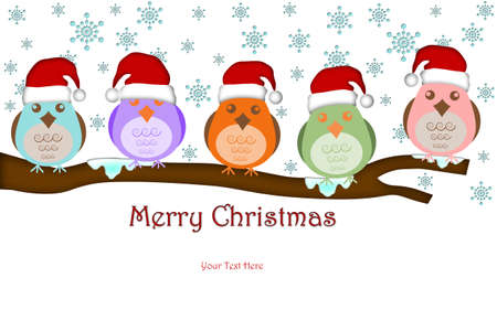 Five Birds with Santas Hat on Tree Branches White Background Drawings Stock Photo - 8281246