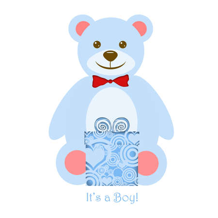 Its a Boy Blue Teddy Bear with Present Illustration illustration