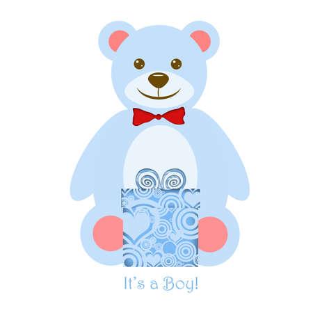 Its a Boy Blue Teddy Bear with Present Illustration
