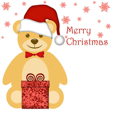 Christmas Teddy Bear with Red Santa Hat and Present Illustration Stock Illustration - 8281250