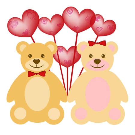 Valentines Day Teddy Bear Couple with Red Heart Shaped Balloons photo