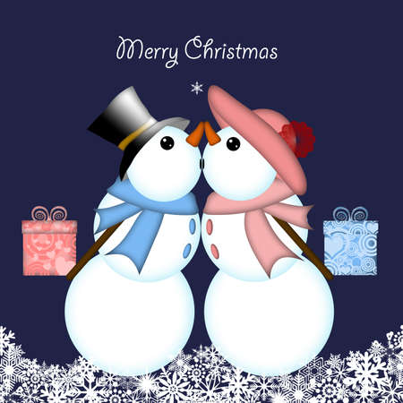christmas greeting card: Christmas Snowman Couple with Presents and Snowflakes Blue Background Stock Photo