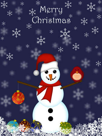Christmas Snowman Hanging Ornament and Cardinal Bird with Blue Background Stock Photo - 8281255