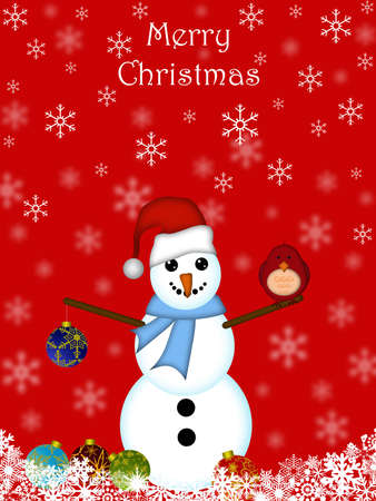 Christmas Snowman Hanging Ornament and Cardinal Bird with Red Background Stock Photo - 8281257