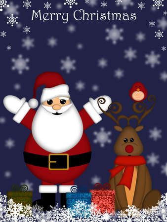 Christmas Santa Claus and Red-Nosed Reindeer with Blue Background