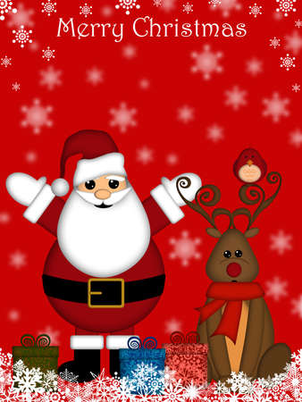 christmas greeting card: Christmas Santa Claus and Red-Nosed Reindeer with Red Background Stock Photo
