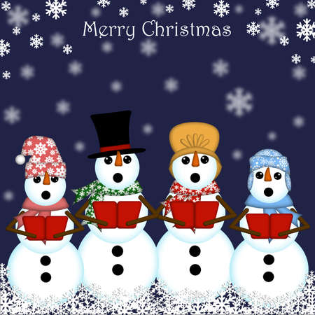 Christmas Snowman Carolers Singing Blue Background