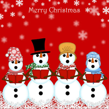 Christmas Snowman Carolers Singing Red Background
