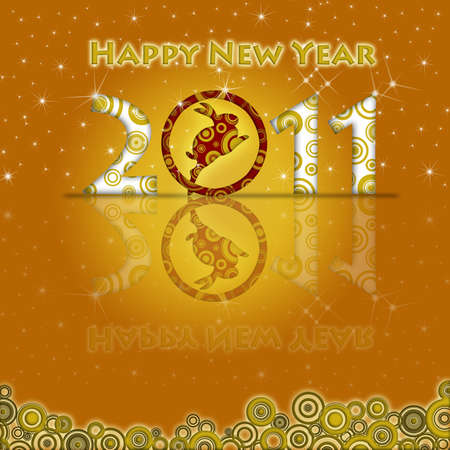 Happy New Year of the Rabbit 2011 with Gold Background Stock Photo