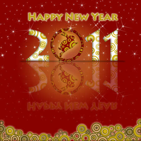 Happy New Year of the Rabbit 2011 with Red Background