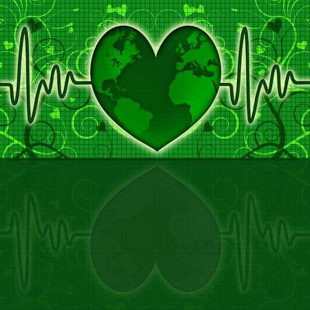electrocardiograph: Earth Global Health Map with Green Heart Beat Electrocardiograph Stock Photo