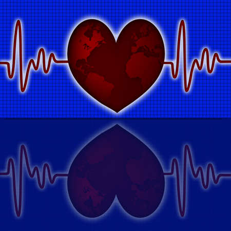 heart monitor: Earth Global Map with Red Heart Beat Electrocardiograph Blue Background Stock Photo