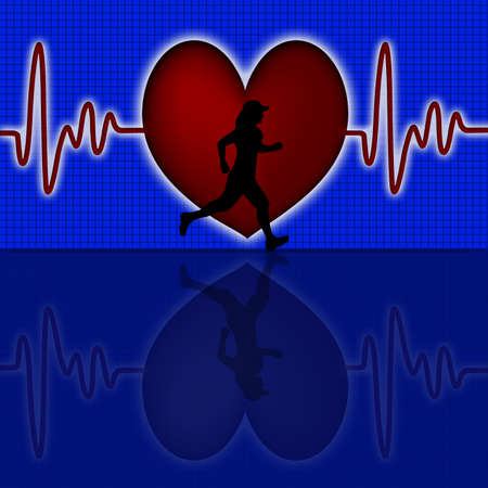 heart monitor: Female Runner Silhouette with Red Heart Beat Electrocardiograph Blue Background Stock Photo