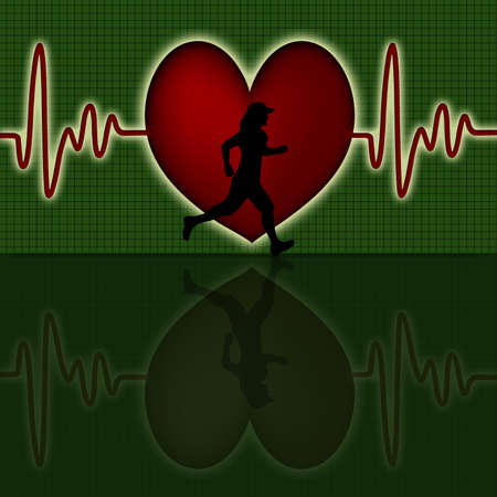Female Runner Silhouette with Red Heart Beat Electrocardiograph Green Background photo