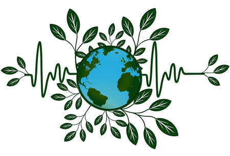 Earth Global Health Map with Go Green Heart Beat Electrocardiograph Reklamní fotografie - 8281270