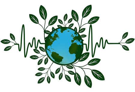 electrocardiograph: Earth Global Health Map with Go Green Heart Beat Electrocardiograph
