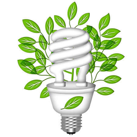 cfl: Energy Saving Eco Lightbulb with Green Leaves on White Background