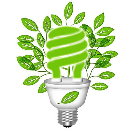 risparmio energetico: Risparmio energetico Eco Lightbulb con verde foglie su sfondo bianco
