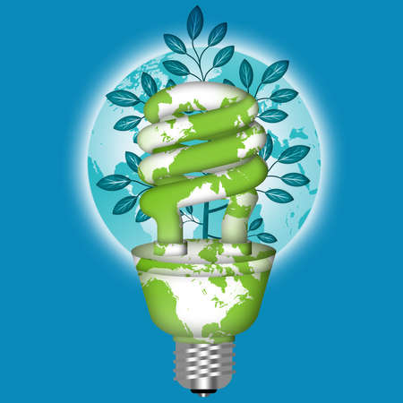 Energy Saving Eco Lightbulb with World Globe on Blue Background