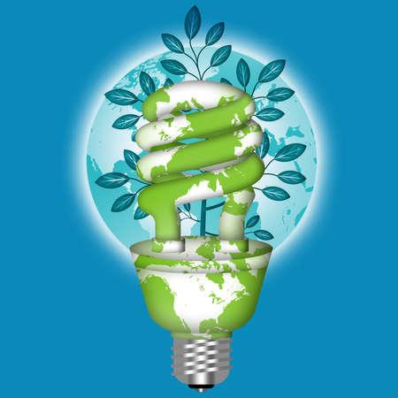 cfl: Energy Saving Eco Lightbulb with World Globe on Blue Background