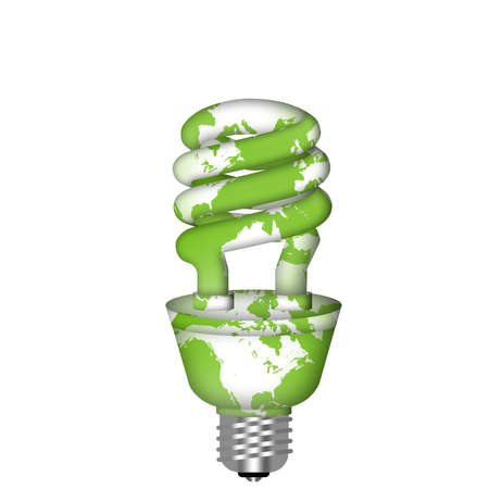 warming: Energy Saving Eco Lightbulb with World Map on White Background