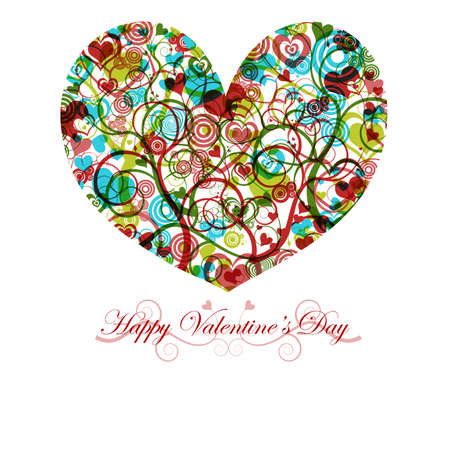 Happy Valentines Day Heart with Colorful Swirls Circles and Hearts Stock Photo - 8346467