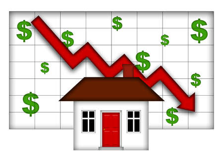 Valores de Real Estate Home Going Down Chart Foto de archivo
