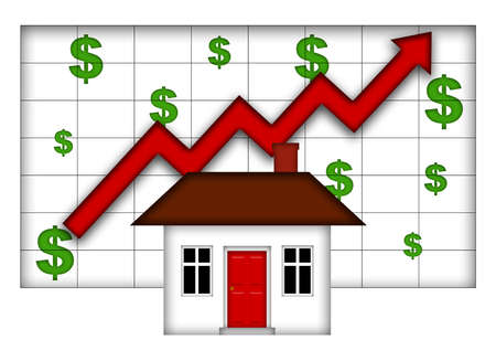 Real Estate Home Values Going Up Chart Stock Photo