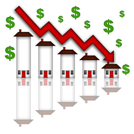 Real Estate Home Values Going Down Graph Chart White Background photo