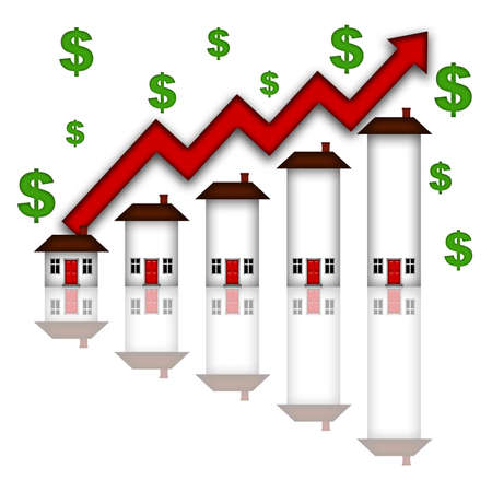 going up: Real Estate Home Values Going Up Graph Chart White Background