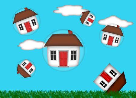 housing estate: Real Estate Housing Bubble Burst Illustration Stock Photo