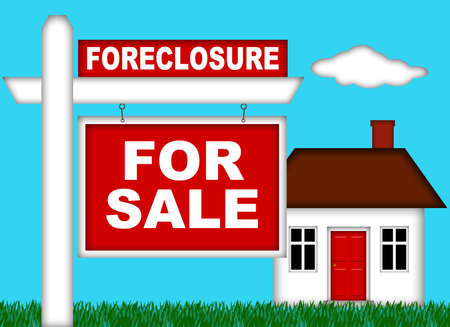 Real Estate Home Foreclosure with For Sale Sign Illustration illustration