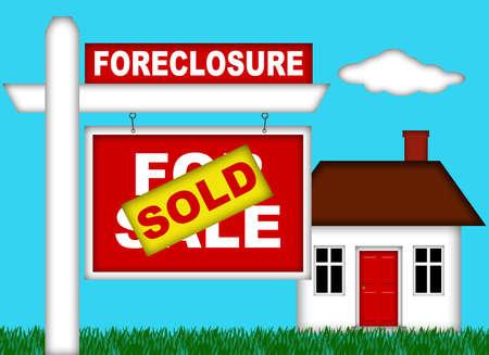 Home Real Estate Marktafscherming met verkocht teken illustratie Stockfoto - 8346478