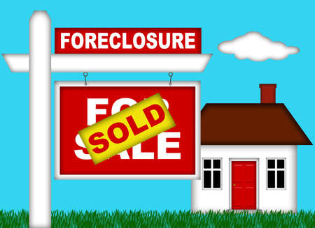 Real Estate Home Foreclosure with Sold Sign Illustration Stock Photo