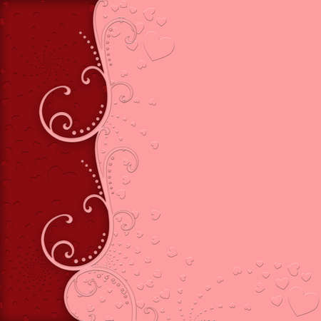 festive occasions: Valentines Day Embossed Hearts Pink and Red Background