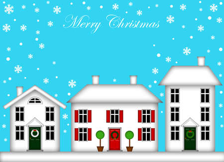 topiary: Snow-Covered Houses with Christmas Decoration and Snowflakes Stock Photo